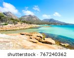 honeymoon bay on a clear day... | Shutterstock . vector #767240362
