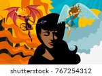 african woman with angel and... | Shutterstock .eps vector #767254312