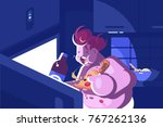 nightly overeating and gluttony.... | Shutterstock .eps vector #767262136