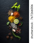 flat lay of spices and herbs on ...   Shutterstock . vector #767266006