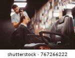 barbershop armchair. modern... | Shutterstock . vector #767266222