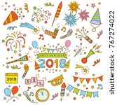 handdrawn elements of new year... | Shutterstock .eps vector #767274022