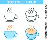 the tea cup. flat and isometric ... | Shutterstock .eps vector #767285122
