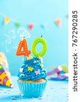 fortieth 40th birthday cupcake... | Shutterstock . vector #767290285
