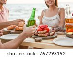 young people having barbecue...   Shutterstock . vector #767293192