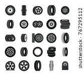 tire icons set. simple... | Shutterstock .eps vector #767295112