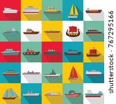 marine vessels types icons set. ... | Shutterstock .eps vector #767295166
