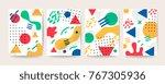memphis style cover  vector... | Shutterstock .eps vector #767305936