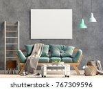 modern interior with sofa.... | Shutterstock . vector #767309596