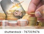 double exposure of euro coin...   Shutterstock . vector #767319676
