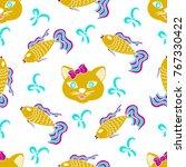 kids  cartoon seamless pattern. ... | Shutterstock .eps vector #767330422