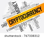 cryptocurrency word cloud...   Shutterstock .eps vector #767338312