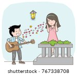 couple cartoon with love song...