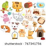 pet animal vector set | Shutterstock .eps vector #767341756
