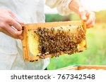 Beekeeper Holding A Honeycomb...