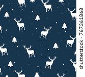 seamless vector winter deers...   Shutterstock .eps vector #767361868
