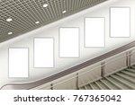 five blank vertical advertising ... | Shutterstock . vector #767365042
