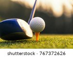 golfers hit sweeping and keep... | Shutterstock . vector #767372626