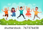 happy children are jumping.... | Shutterstock .eps vector #767376658