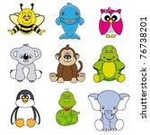 Stock vector cartoon animals and pets 76738201