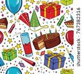 happy birthday  seamless... | Shutterstock .eps vector #767382316