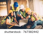 four construction architects... | Shutterstock . vector #767382442