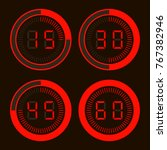 set of digital stopwatches.... | Shutterstock .eps vector #767382946