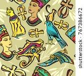 ancient egypt art pattern.... | Shutterstock .eps vector #767386672