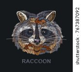 raccoon embroidery. fashion... | Shutterstock .eps vector #767387092