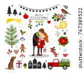 chrismas elements and objects ... | Shutterstock .eps vector #767389522