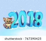 new year postcard 2018 with dog   Shutterstock .eps vector #767390425