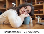 attractive long haired girl... | Shutterstock . vector #767393092