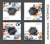 set of square color brochures ...   Shutterstock .eps vector #767394412