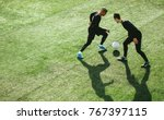 top view of two teenagers... | Shutterstock . vector #767397115