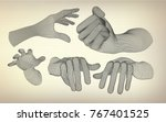 wireframe hands in different... | Shutterstock .eps vector #767401525