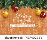 christmas card with detailed... | Shutterstock .eps vector #767402386