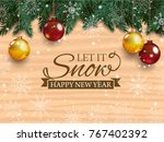 christmas card with detailed... | Shutterstock .eps vector #767402392