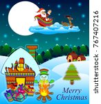 happy merry christmas posters... | Shutterstock .eps vector #767407216