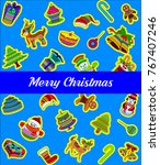 happy merry christmas posters... | Shutterstock .eps vector #767407246