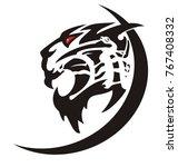 aggressive tiger icon. tattoo...   Shutterstock .eps vector #767408332