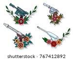 vector retro futuristic laser... | Shutterstock .eps vector #767412892