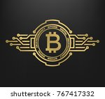 bitcoin  abstract golden symbol ... | Shutterstock . vector #767417332