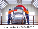 march 14  2017 chinese workers... | Shutterstock . vector #767418016