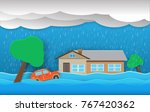 city flood flooding water in... | Shutterstock .eps vector #767420362