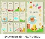 calendar for 2018 year.happy... | Shutterstock .eps vector #767424532