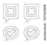 check mark inside speech box  ... | Shutterstock .eps vector #767425858