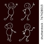 funny doodle man set. black and ... | Shutterstock .eps vector #767428015