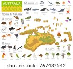 isometric 3d australia and... | Shutterstock .eps vector #767432542