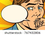 retro comic man cries and says. ... | Shutterstock .eps vector #767432806