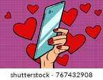 women and mobile valentine day. ... | Shutterstock .eps vector #767432908